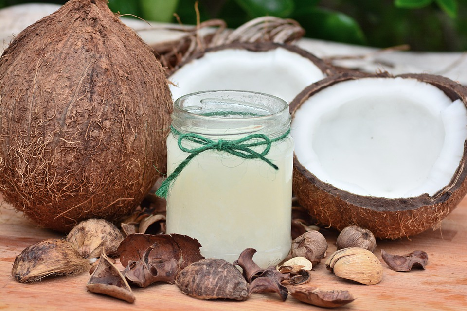 Using coconut oil for skin damage remedies.